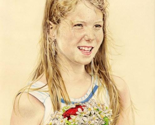 Portrait dessin d'après photo d'une jeune fille avec un bouquet de fleurs