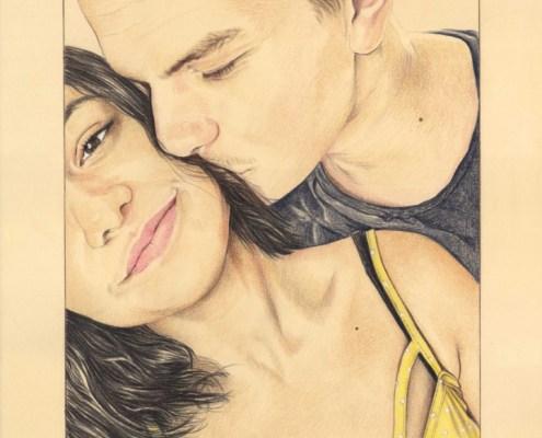 Portrait dessin d'après le selfie d'un jeune couple
