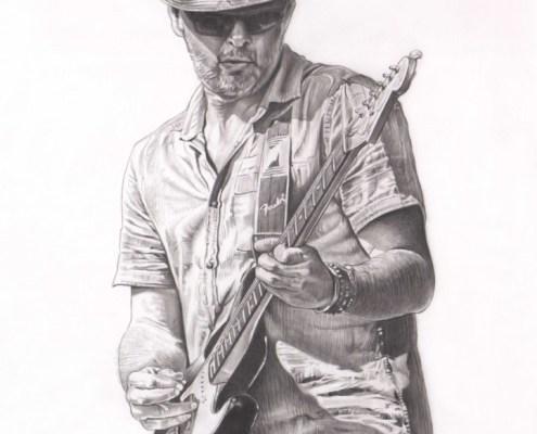 Dessin portrait d'après une photo d'un homme avec sa guitare