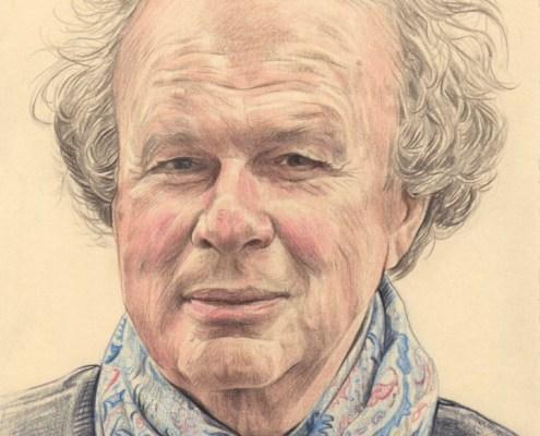 Dessin portrait d'après une photo d'un homme avec un foulard