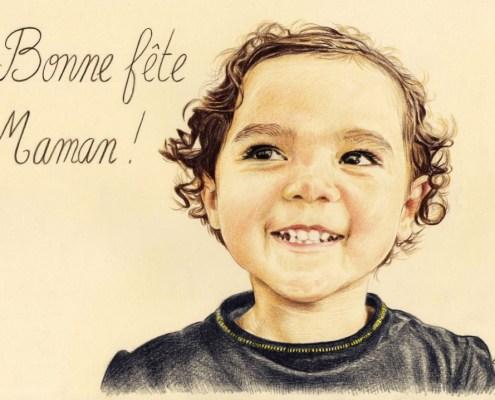 Portrait dessin de fête des mères d'après photo d'un enfant en couleur