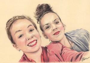 Portrait dessin pour la fête des pères d'après photo de deux sœurs