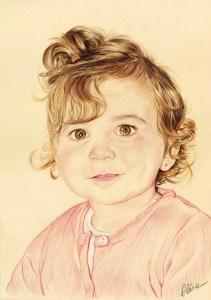 Portrait dessin d'après photo d'une petite fille en couleur