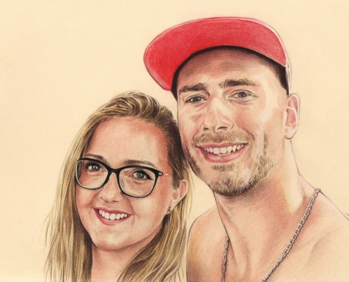 Portrait d'après photo d'un jeune couple en couleur