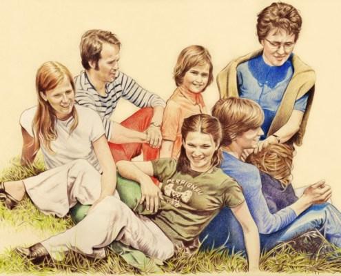 Portrait dessin d'après photo ancienne d'une famille en couleur