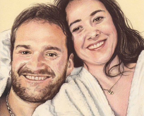 Portrait dessin d'après photo d'un couple en mode cocooning