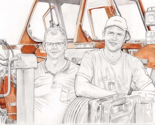 Portrait dessin d'après photo de deux hommes devant un tracteur