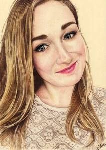 Portrait dessin d'après photo d'une jeune fille aux cheveux longs en couleur