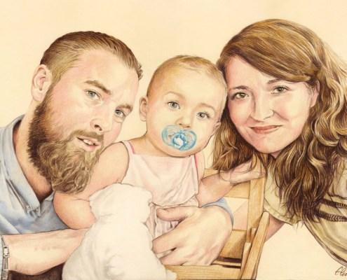 Portrait dessin d'après photo de jeunes parents avec leur bébé en couleur