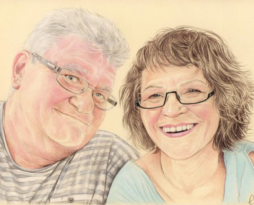 Portrait dessin d'après photo d'un couple de retraités à lunettes