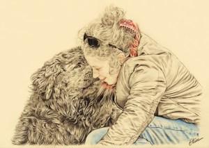 Portrait dessin d'après photo d'un chien terre-neuve avec sa maîtresse