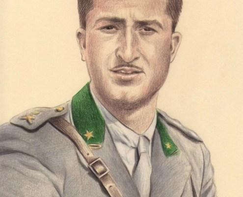 Portrait dessin d'après une photo ancienne d'un homme en uniforme