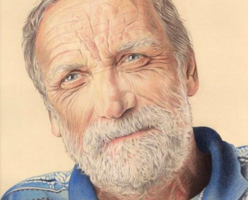 Portrait dessin d'un homme d'âge mûr en couleur