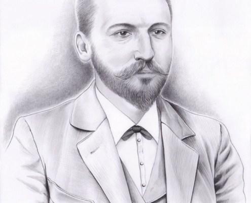 Portrait dessin d'un homme en costume d'après vieille photo en noir et blanc