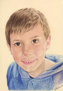 Portrait dessin d'un jeune garçon en couleur