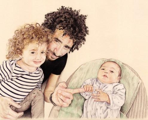 Portrait dessin d'un papa avec ses deux enfants