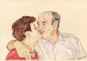 Portrait dessin d'un vieux couple s'embrassant