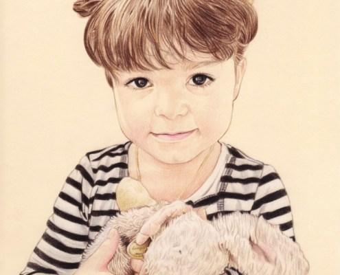 Portrait dessin d'une fillette avec son doudou pour la fête des pères