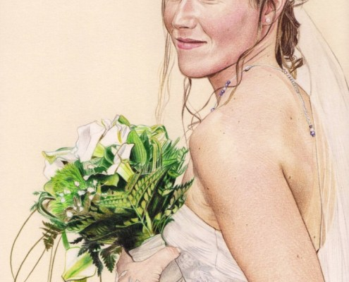 Portrait dessin d'une mariée avec son bouquet en couleur