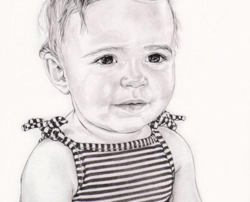 Portrait dessin en noir blanc d'une petite fille