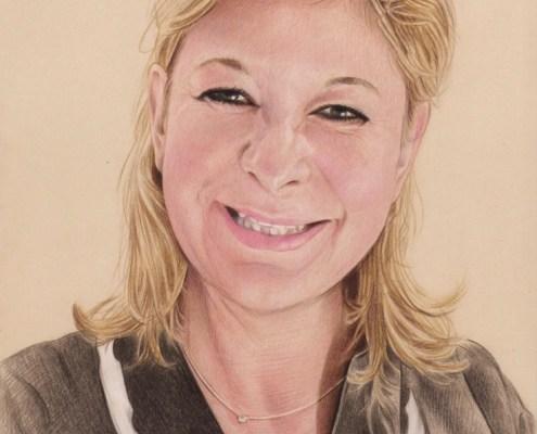 Portrait dessin d'une femme souriante en couleur