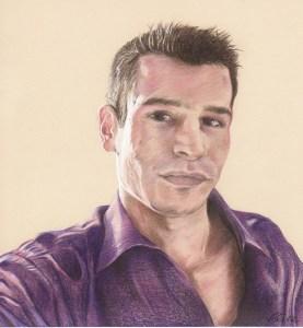 Portrait dessin d'après photo d'un jeune homme