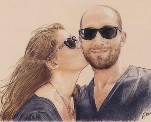 Dessin d'un couple à lunettes en couleur