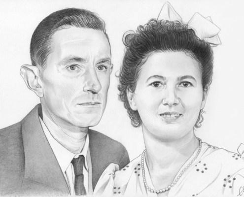 Portrait dessin d'un couple d'après une ancienne photo