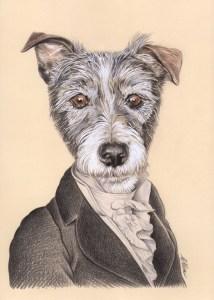 Portrait dessin d'un chien habillé en dandy