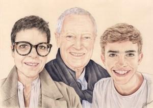 Portrait dessin d'un père avec sa fille et son petit-fils
