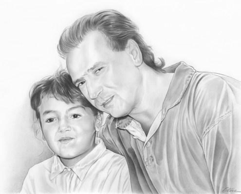 Portrait dessin d'un père et sa petite fille