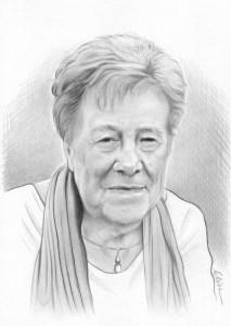 Portrait dessin d'une dame âgée en noir et blanc