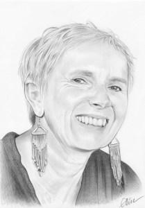 Portrait dessin d'une femme aux cheveux courts