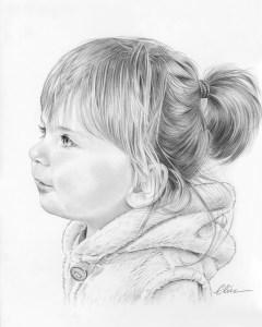 Portrait dessin d'une petite fille de profil