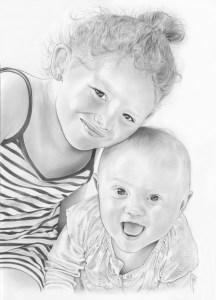 Portrait dessin d'une petite fille et d'un bébé