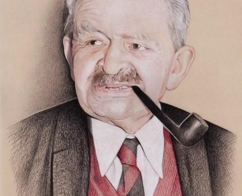 Portrait dessin d'un vieil homme fumant la pipe
