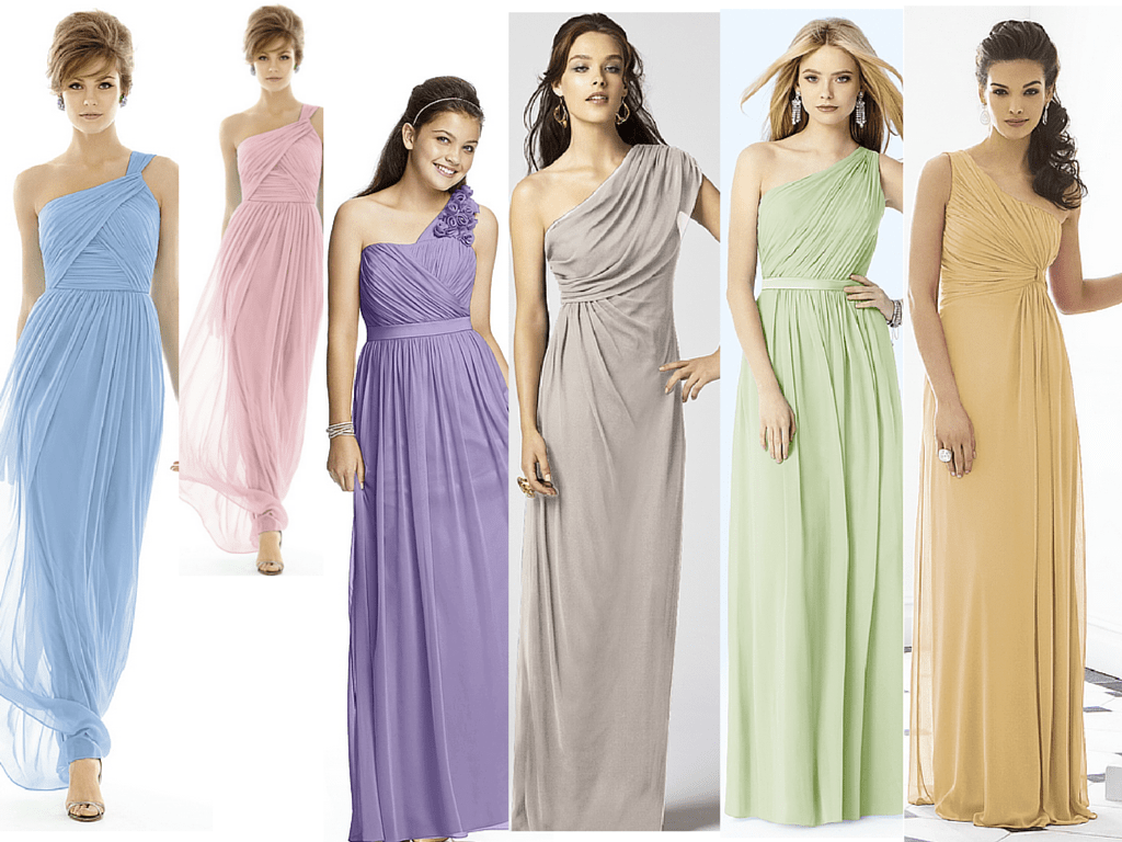 Goddess Style Bridesmaid Dresses In Pastels