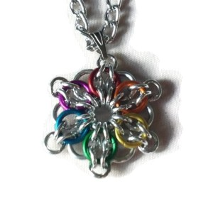 Rainbow Chainmaille Pendant by Destai