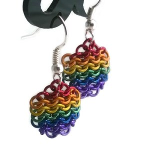 Rainbow Chainmaille Earrings by Destai