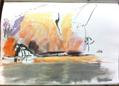 Sketch in pastel of Edith Falls.