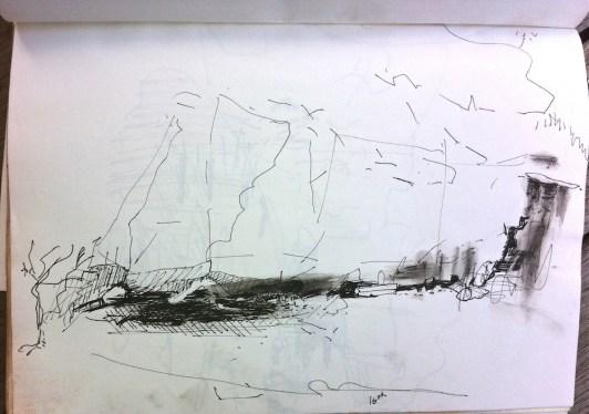 Sketch in ink pen of undermined rock face by water flow from the wet season