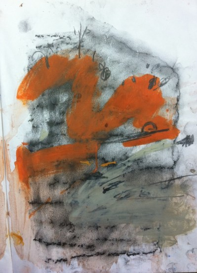 Sketch from Katherine Gorge, pastel stain on pencil frottage