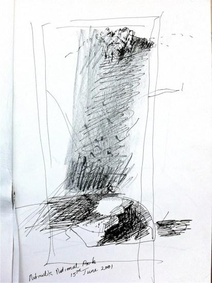 Sketch in ink pen at Katherine Gorge