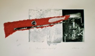 Dawn Cloud Trajectory, 2010, intaglio, collage and wash 15x31 cm