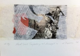 Red Soil Trajectory at Mungo 1. VE 4/8, 2015, intaglio, chine colle and silver leaf, 12x8 cm