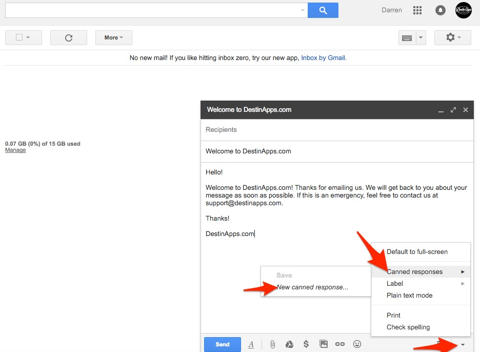 Gmail New Canned Response