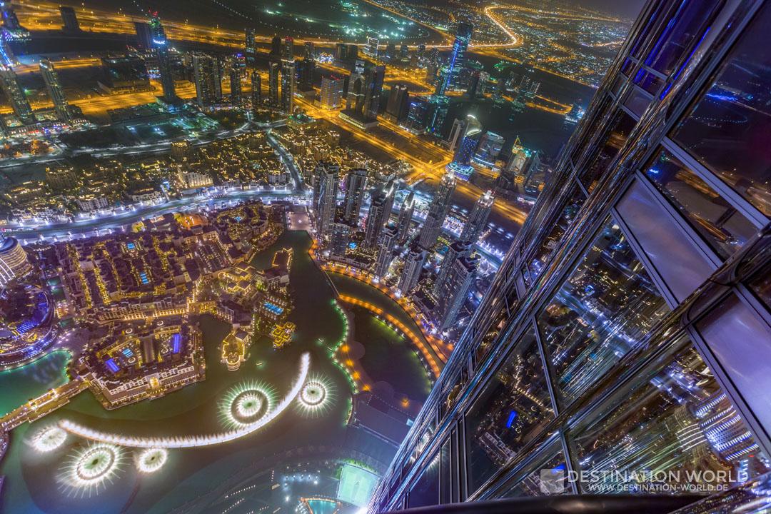 Blick vom Burj Khalifa auf die Dubai Fountain