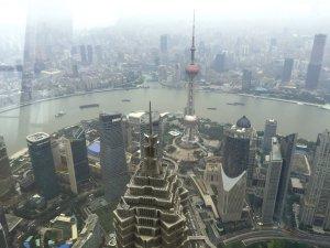 Pudong von der Aussichtsplattform des World Financial Centers