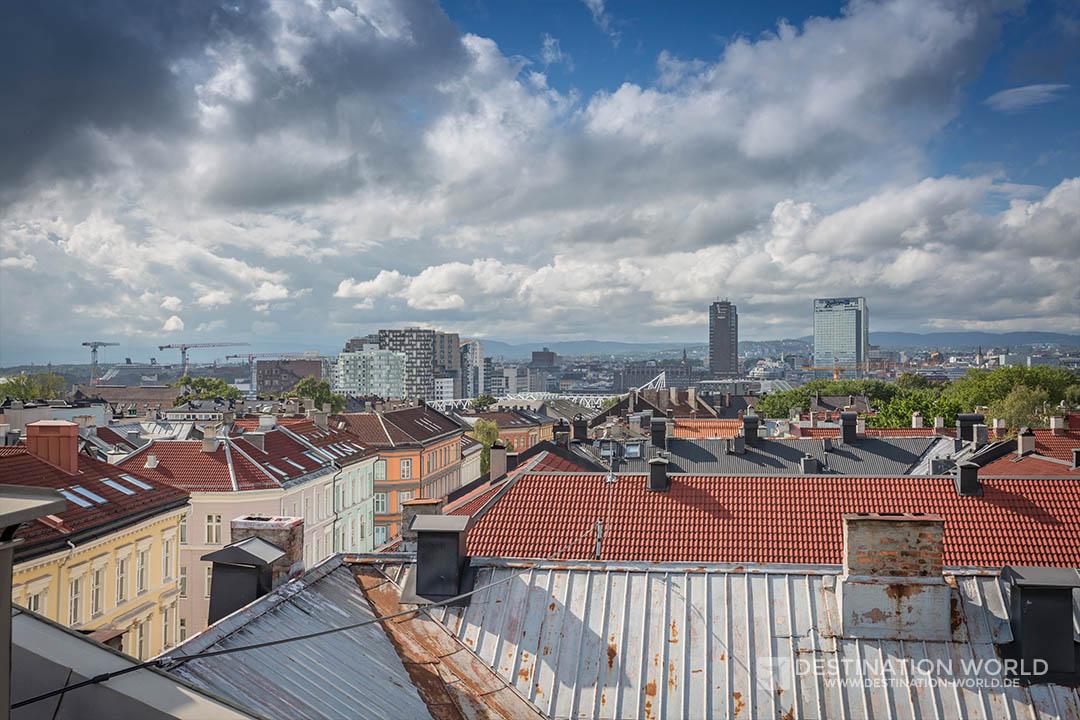 Blick von der Dachterrasse unserer Wohnung in Oslo