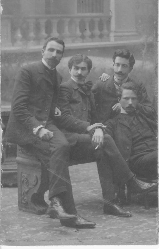 Пенчо Койчев с Елин Пелин, Александър Божинов и Петър Морозов